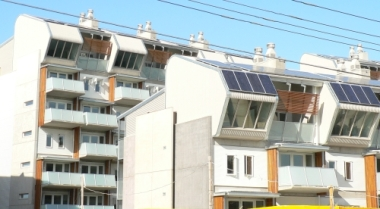 Sustainable apartments in Australia. Photo by Biatch. Released into the public domain. Wikipedia Commons.