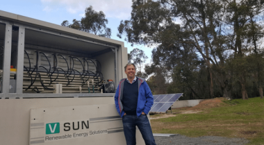 AVL managing director, Vincent Algar, next to the CellCube vanadium redox flow battery.