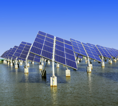 Solar trackers standing in water
