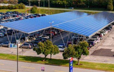 Solar parking lot canopy at BCIT