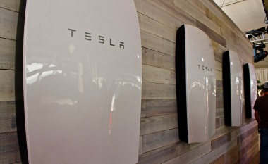 Tesla Powerwalls at an event at the Gigafactory