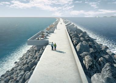 Artist's impression of Swansea Bay tidal lagoon (TLP image)