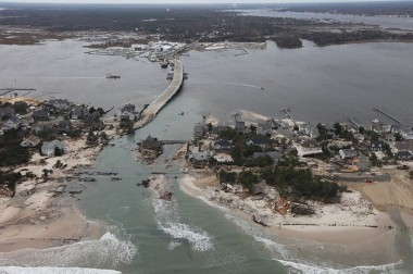 Superstorm Sandy created a massive inlet in Mantoloking. (Photo: Greg Thompson/USFWS)