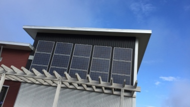 Solar panels at Yukon College (Philippe Morin/CBC)
