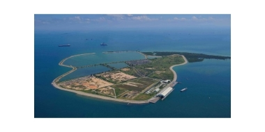 Aerial view of Singapore's southern island of Semakau
