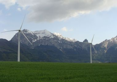 Wind turbines in France  (photo by Fr.Latreille, CC BY-SA, Wikimedia Commons)