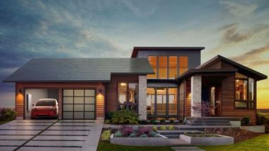 House with Tesla's solar roof tiles