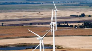 North Dakota wind farm (AP Photo / The Forum, Darren Gibbins)
