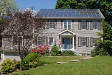 Solar panels on a house in New England  (Photo by Gray Watson, CC BY SA, Wikimedia Commons)