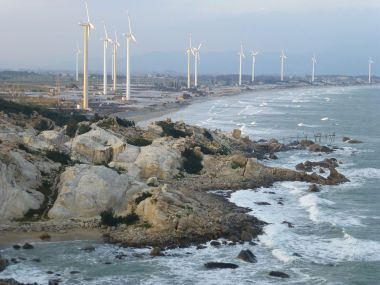 Wind turbines in Liu'ao  (Photo by Vmenkov, CC BY SA, Wikimedia Commons)