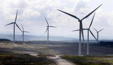 Wind turbines providing power in Scotland
