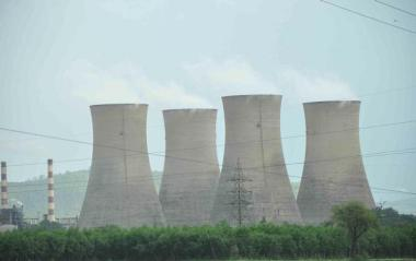 Cooling towers at a conventional thermal power plant