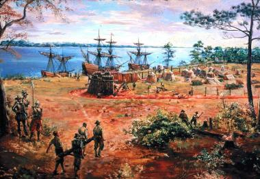 The construction of James Fort  (Artist: Sidney E. King, Permission by National Park Service)