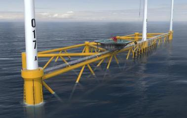 Multi-turbine floating platform (Image: Hexicon)