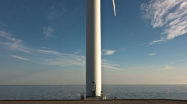 Bottom of wind turbine at Avedore, Hovedstaden, Denmark  (by Drouyn Cambridge via Flickr, CC BY-SA 2.0 license)