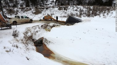 Most of the oil has flowed into Ash Coulee Creek.