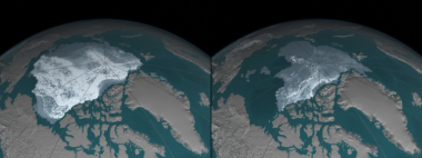 The Arctic in September, 1984 (left) and 2016 (right) (Credit: NASA)