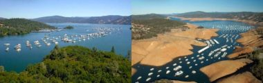 Lake Oroville in July 2011 (left) and January 2014 (right) (Credit: California Department of Water Resources)