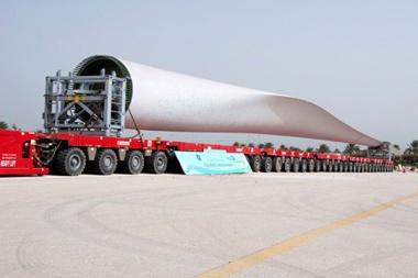 The wind turbine being transported