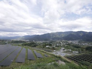 Solar panels in Yamanashi prefecture (Photo: Bloomberg)