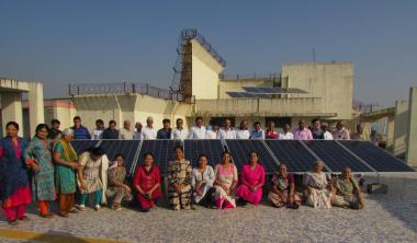 Residents and solar panels of Shivshakti Heights (HT Photo)