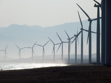 A coastal wind farm in the Philippines