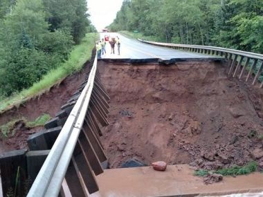 Road temporarily closed (Photo courtesy of Ready Wisconsin)