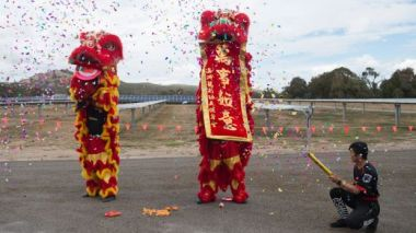 Dancers at the opening of the Mugga Lane solar farm (Photo: Jay Cronan)
