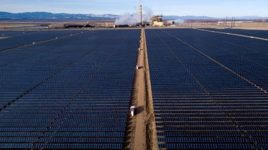 156-MW Comanche solar array, with the coal-burning Comanche electric plant behind (Mike Sweeney, Special to The Colorado Sun)